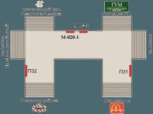 Схема рекламных мест в подземном пешеходном переходе на ул. Ленина